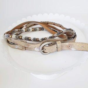 Tri-colored Metallic Double Strap Belt